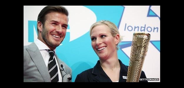 David Beckham y la llama olímpica. Foto: Getty Images